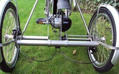 Ombouwset van fiets naar driewieler Opus-3 Gemonteerd